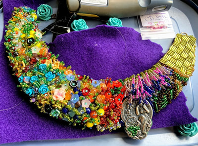 work in progress, wip, statement necklace, beaded embroidery necklace, statement jewellery, painting with beads, floral jewellery