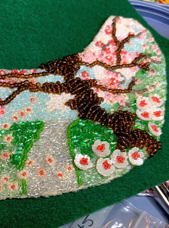 bead embroidery, floral necklace, cherry blossom necklace, art nouveau, vintaj, mucha inspired, cherry blossom tree, statement necklace