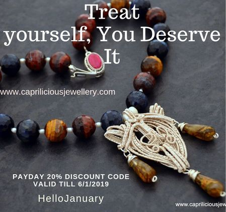 Payday discount code for December 2018 from Caprilicious Jewellery