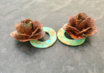 Copper roses, verdigris and red oxide patina earring components