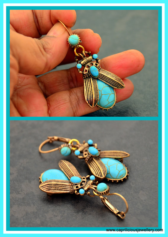 beetle earrings, leverback, turquoise earrings, howlite, antique gold tone earrings