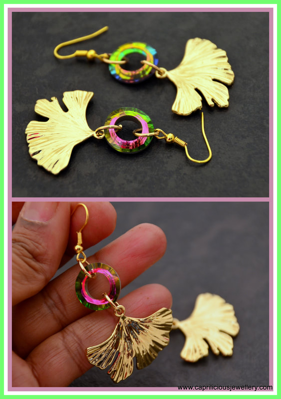 diamante earrings, statement earrings, gingko leaf earrings, ginkgo leaf, crystal earrings, gold tone earrings